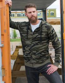 Full Zip Camo Hooded Fleece Jacket